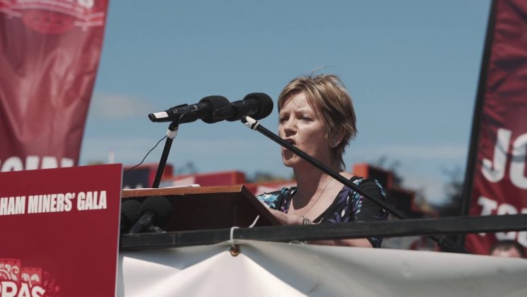 Clare William sspeaking at Miners' Gala 2017