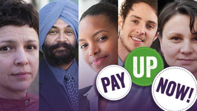 Pay up now banner